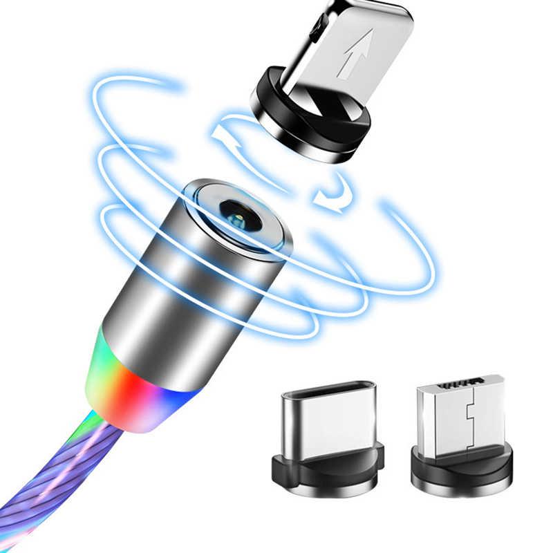 Mikro USB manyetik akan işık LED kablosu Samsung tipi c şarj iphone 1M mıknatıs şarj USB C kabloları