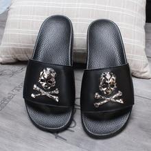 Summer Indoor Soft Flip Flops Home Beach Shoes Couple Non-Slip Skull Tide Slides Casual Flat Sandals Women/Man Fashion Slippers