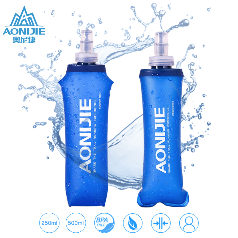 AONIJIE Soft Flask Water Bottle Folding Collapsible Water Bags TPU Free For Running Hydration Pack Waist Bags SD09/10 250/500ml