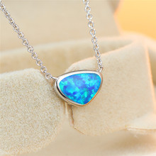 Cute Female Blue Opal Pendant Necklace Charm Silver Triangle Chain Necklaces For Women Trendy Bridal Geometric Weddings Necklace 10pcs n050 fashion flat triangle necklace cut out subulate necklaces simple geometric polygon layering triangle necklace