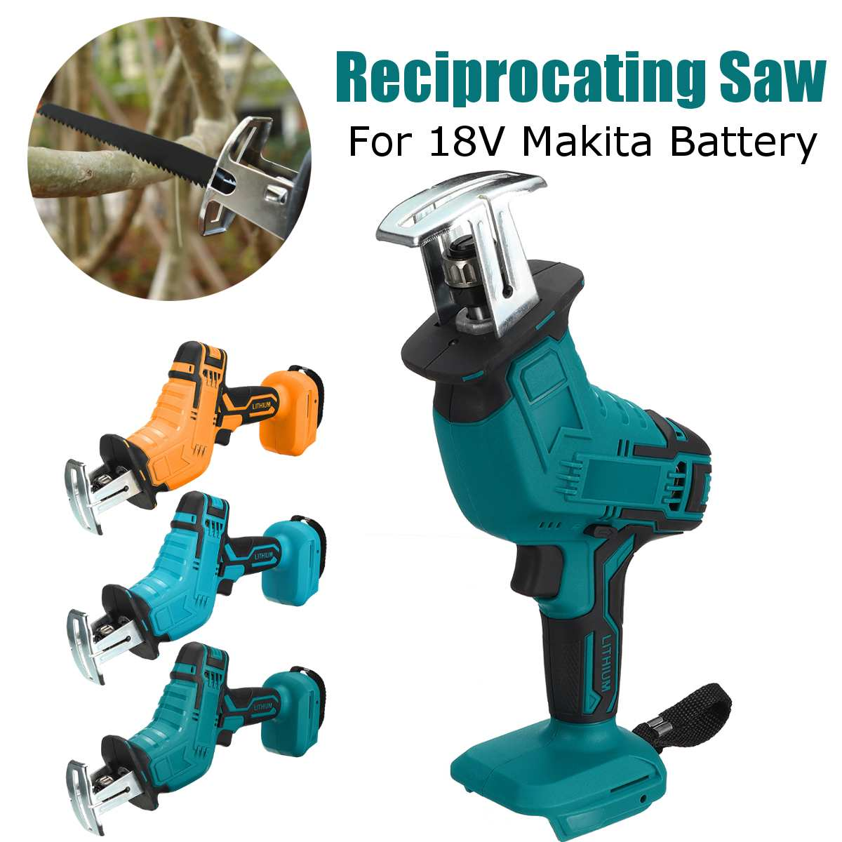 18V 3000rpm/min Electric Saw Variable Speed Electric Reciprocating Saw Adapted for Makita Battery Stepless Speed Change