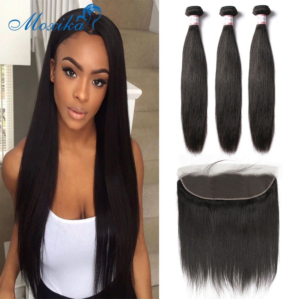 Moxika Brazilian Straight Hair Bundles With Frontal Human Hair Weave Bundles With Closure 3 Bundles Human Hair Weave Remy Hair