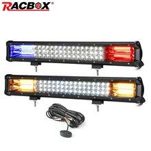 Racbox de 20 polegadas, luz branca, vermelha, azul, flash, luz de aviso de condução, à prova d' água, led, luz de trabalho, bar, carro, off road, caminhão, suv reboque atv