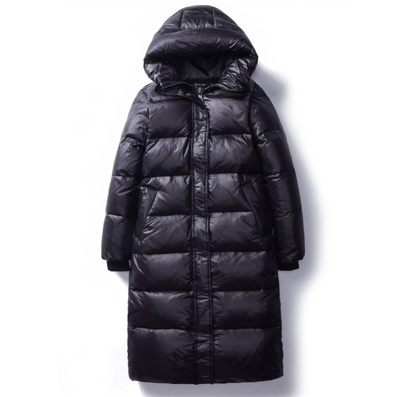 2020 Korean Winter Down Cotton Jackets Women's Long Parkas Slim Hooded Warm Winter Coats Female Plus Size Black Overcoats V1162