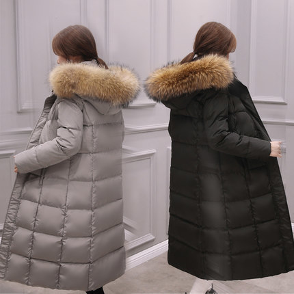 New White Duck Down Warm Jacket Women Parkas Large Pure Raccoon Fur Collar Feahter Jacket Female High Quality LX801