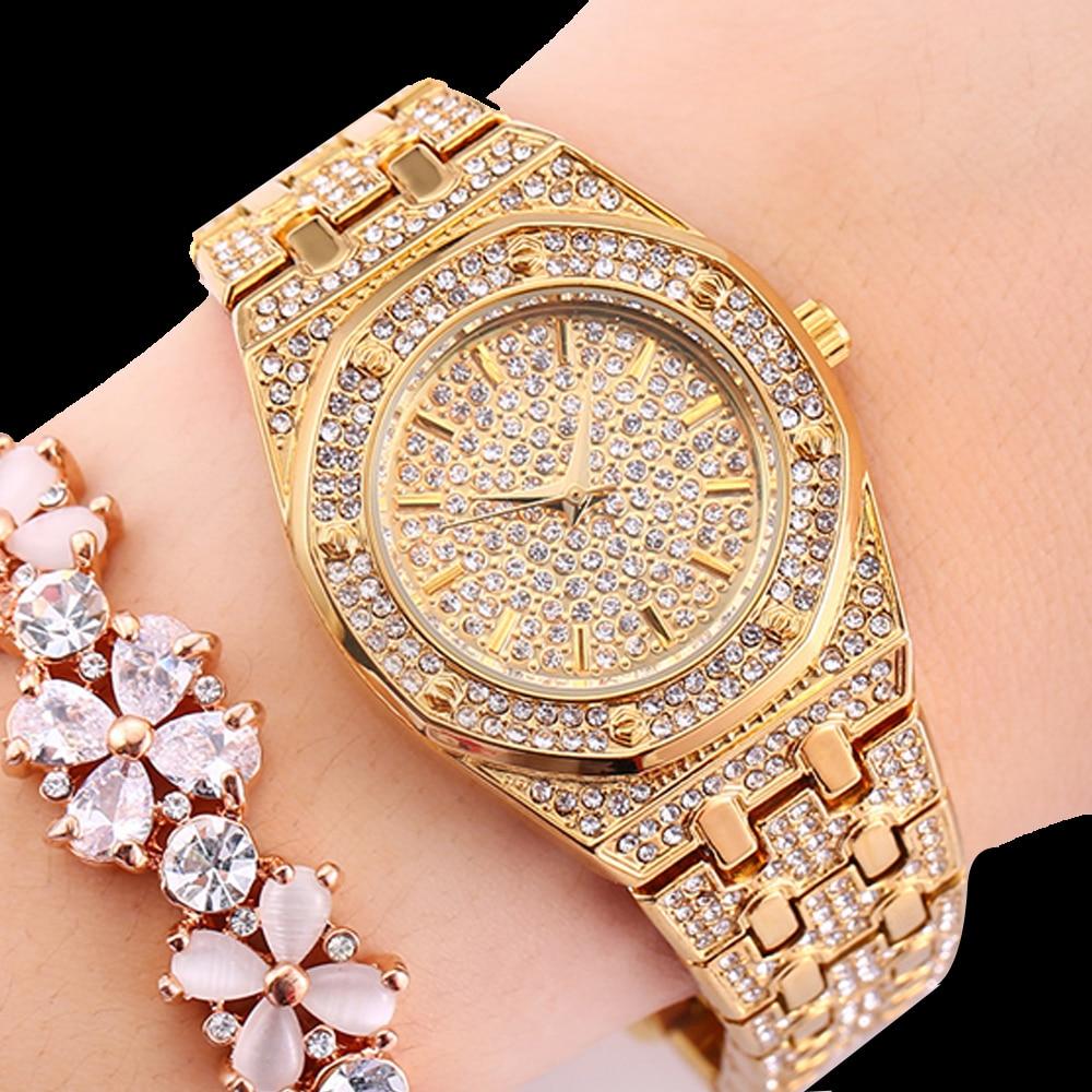Luxury Full Diamond Watch Women Hip Hop Iced Out Womens Quartz Watches Female Clock Gold Silver Steel Bracelet Reloj Mujer XFCS