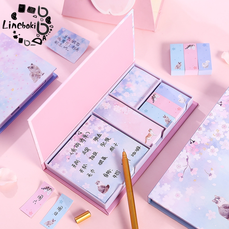 Korean Post-it Note Set Hot Sale Cherry Blossoms Sticker Memo Pad N Times Sticky Notes School Supply Bookmark Post It Label
