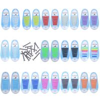 16Pcs Adult Kid Lazy No Tie Silicone Shoelaces Waterproof Elastic Wash Free Rainbow Shoe Laces for Casual Sneakers Running Boots