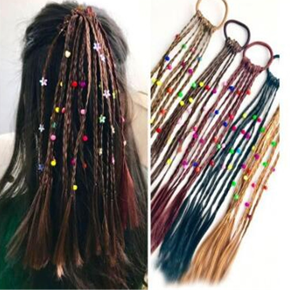 1pc Korean Style Children Rubber Bands Wig Braids Multi-color Kids Elastics Hair Rope Girl Cute Hair Accessories