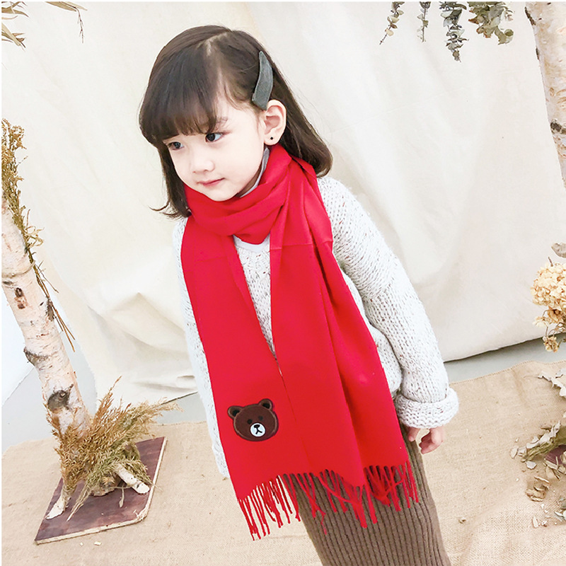 2019 New Style New Autumn And Winter Warm Embroidery Students Children Shawl Scarf Korean-style Long Thick Warm