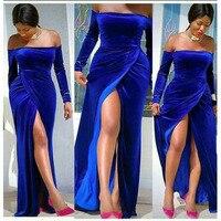 Royal Blue Velvet Prom Dresses 2020 African Black Girls Long Sleeve High Slits Off Shoulder Plus Size Evening Dress Formal Party