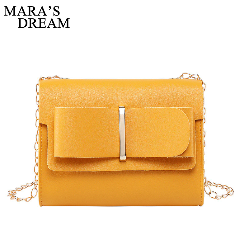 Mara's Dream 2019 New Solid Color Small Bag Simple Female Bag Shoulder Slung Casual Small Fresh Chain Small Square Bag