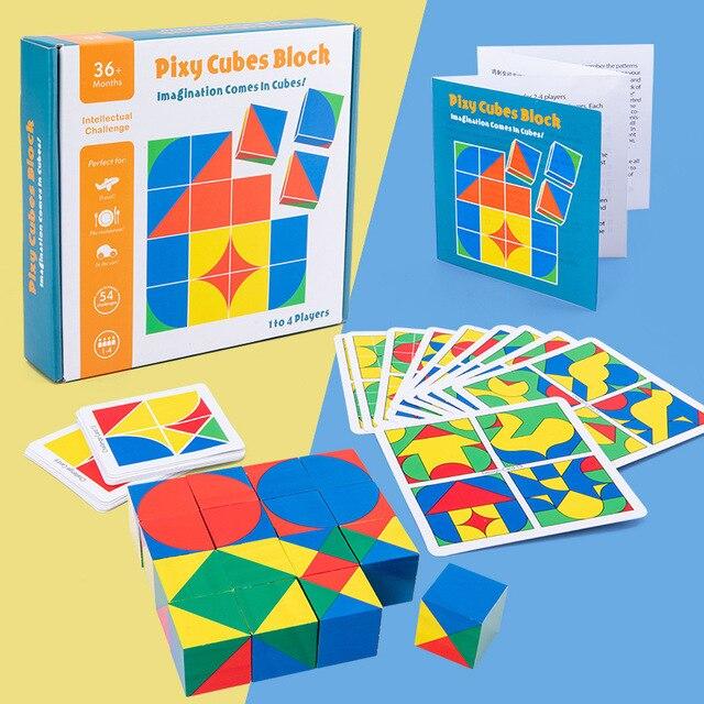 חדש לילדים מעץ צעצועים חינוכיים pixy קוביות בלוקים מרחב חשיבה אינטליגנציה לילדים תינוק 6
