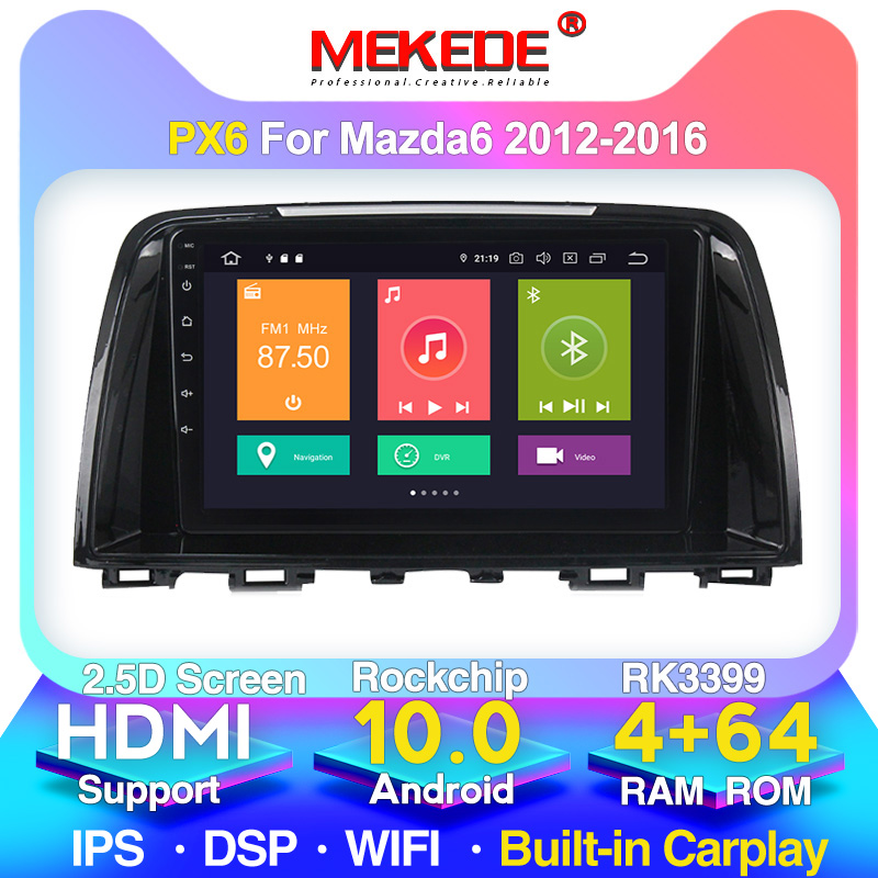 New <font><b>system</b></font>!PX6 2din android 10 car radio player for <font><b>Mazda</b></font> <font><b>6</b></font> 2012-2016 Built-in carplay DSP 4G WiFi <font><b>GPS</b></font> navigation image