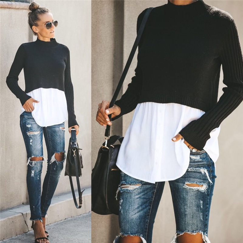 Autumn Winter Black Knit Sweater Women 2019 Patchwork Long Sleeve Button Pullover Women Jumper
