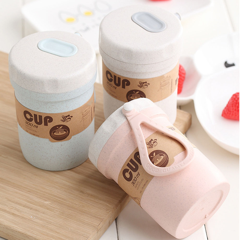 2019 New Design Useful Nordic Blue/Apricot/Pink portable wheat straw breakfast porridge soup cup portable valve sealed soup cans image