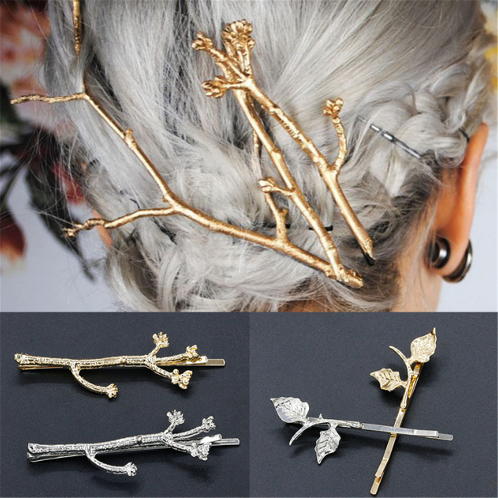 Elegant Metal Tree Branch Hair Clips Barrettes Stick Women Tree Style Gold Silver Hairpins Hairgrips Headdress Hair Accessories