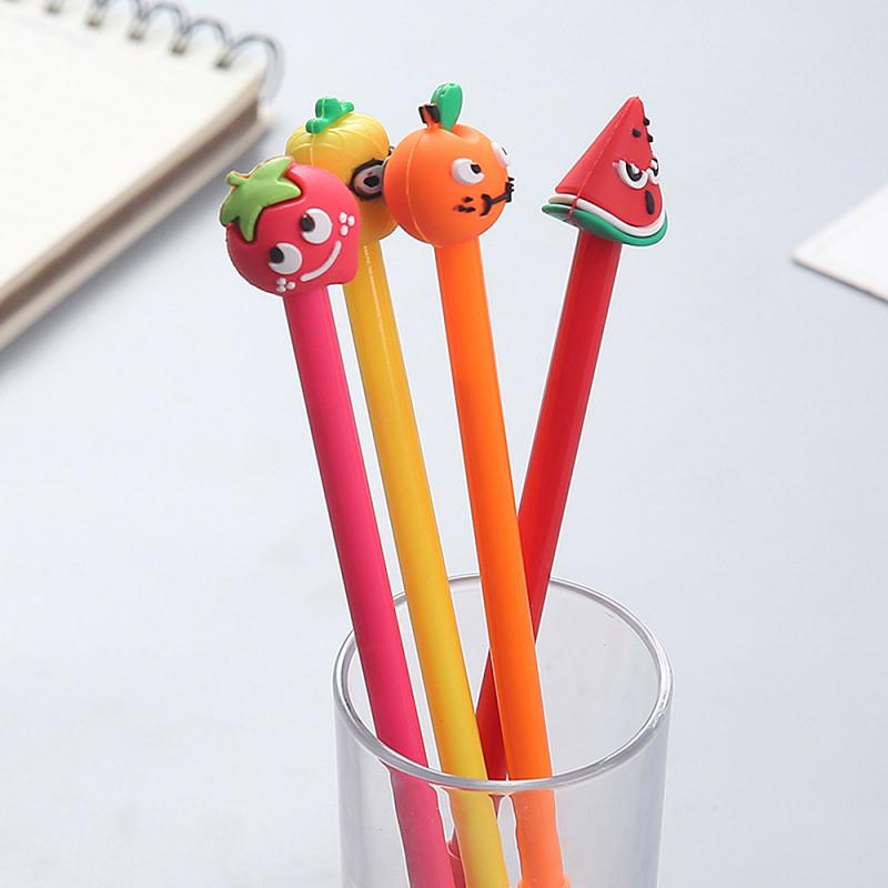 Силиконовая гелевая ручка Kawaii с фруктовыми головками, школьные и офисные принадлежности, канцтовары, подарок 0,5 мм, черные чернила, школьные...