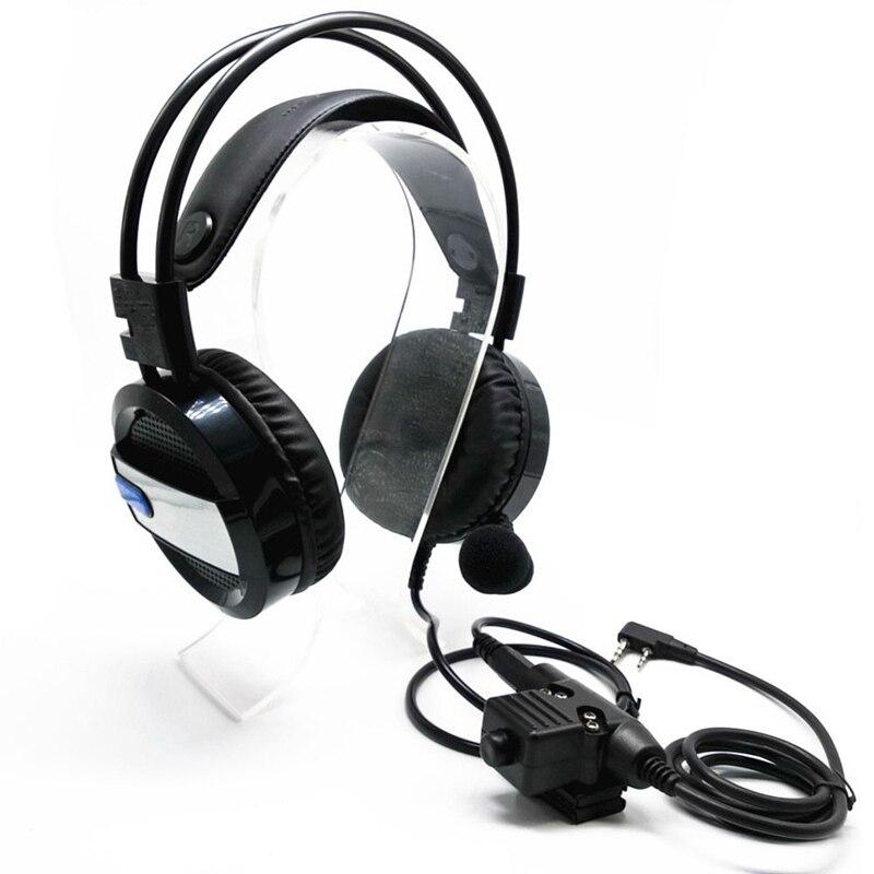Casque de U94-PTT réglable de Volume de casque d'interphone avancé avec des lumières rougeoyantes pour UV5R TH-F8 TK3107