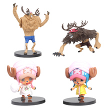 цена на 4 PCS/LOT Anime One Piece Tony Tony Chopper Cartoon Model Doll PVC Action Figure Toy for Children Collection Birthday Gift