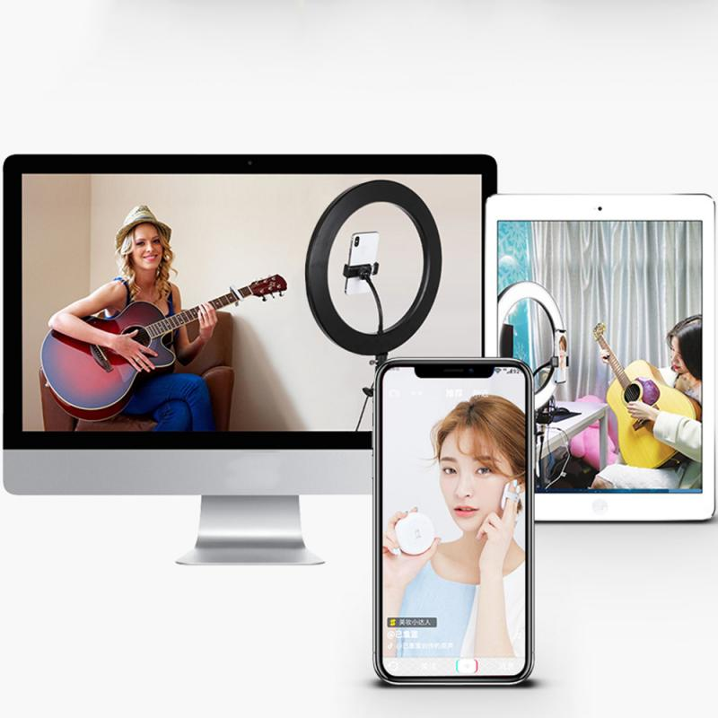 cheapest 3 in 1 Smartphone Makeup phone holder stand beauty 8 inch 20cm 2in1 Ring flash Video Live Led ring light lamp Photography Photo