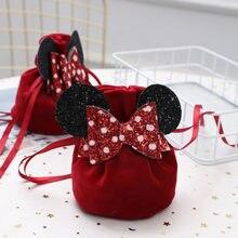 Leuke Fluwelen Gift Bags Voor Bruiloft Gunsten Chocolade Snoep Verpakking Zakken Met Boog Kawaii Accessoires Sieraden Organizer