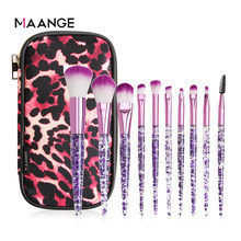 MAANGE 10pcs Makeup Brush Set With Bag Foundation Powder Blush Highlighter Eyeshadow Brush Premium Eye Makeup Brush Professional(China)
