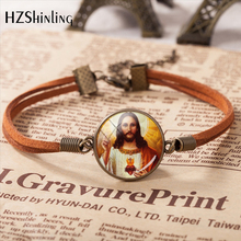 2020 Jesus Virgin Mary Mother Baby Leather Bracelet Jesus Pendant Religion Glass Cabochon Jewelry Accessories