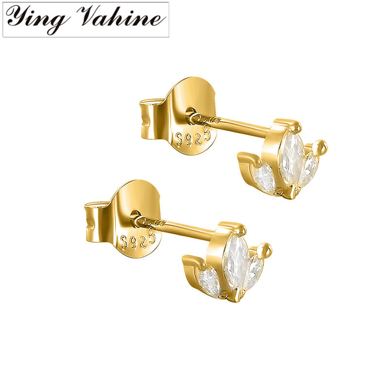 Ying Vahine 100% 925 Sterling Silver Small Zircons Stud Earrings For Women