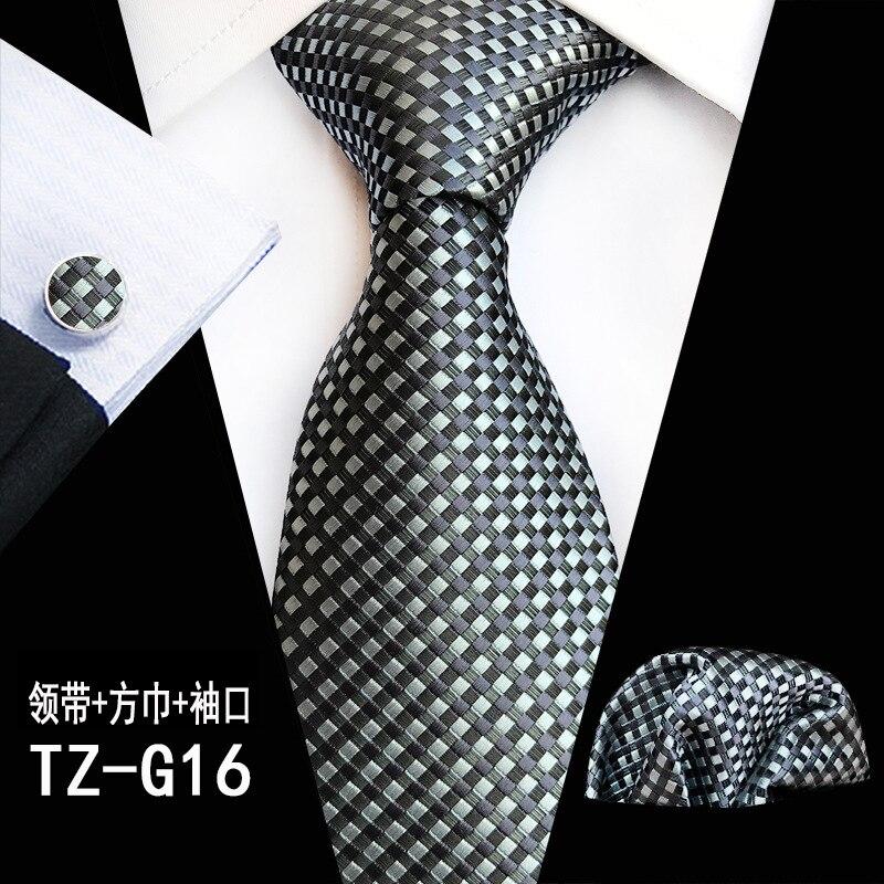 Ricnais 8cm Silk Men's Tie Set Black Red Plaid Striped Handkerchief Cufflink Necktie Suit Business Wedding Pocket Square Necktie