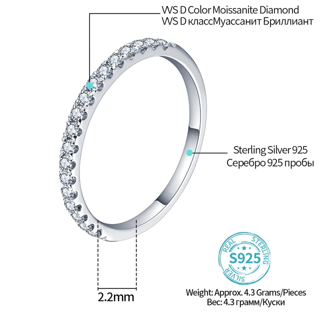 ATTAGEMS 925 Sterling Silver Pass Diamond Test Round Excellent Cut Total 0.27 CT Moissanite Ring for Girls Cocktail Jewelry 2