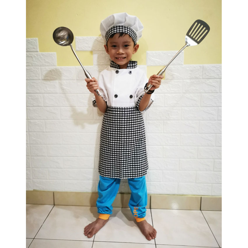 Kids Master Chef Uniform Halloween Cosplay Costume Children Boy Girl Plaid Apron Jacket Set Cook Suit Kitchen Stage Performance