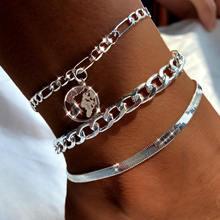 3 bracelets de cheville multicouches pour femmes, couleur or argent, carte du monde, style bohème, bijoux de plage, accessoires pour pieds