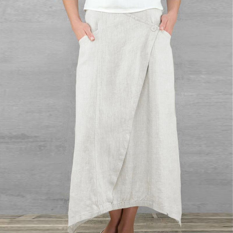 Cotton Linen Vintage Women Maxi Skirts High Waist Irregular Skirt 2020 Spring Summer Plus Size 5XL Long Pleated Beach Lady Skirt