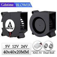 Gdstime DC 5V 12V 24V 40mmx20mm 40mm Axial Dual Ball Bearing Blower Fan 40x20mm 4cm Mini 3D Printer Turbo Blower Cooling Fan