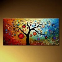Handmade Art Abstract Canvas Painting for Living Room Bedroom Modern Abstract Tree Painting Wall Picture Decoration