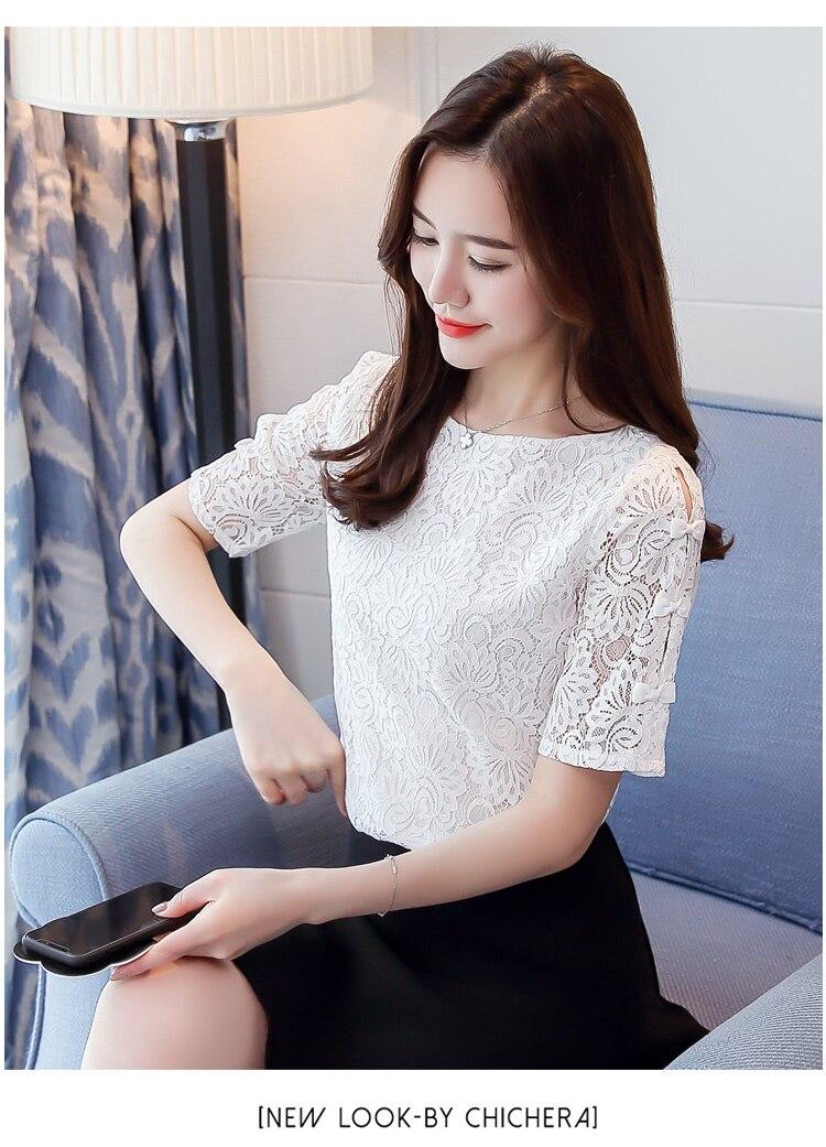 Fashion lace women blouses shirt summer short sleeve women tops hollow Lace blouse women shirt Female Blusas femininas Plus size 8