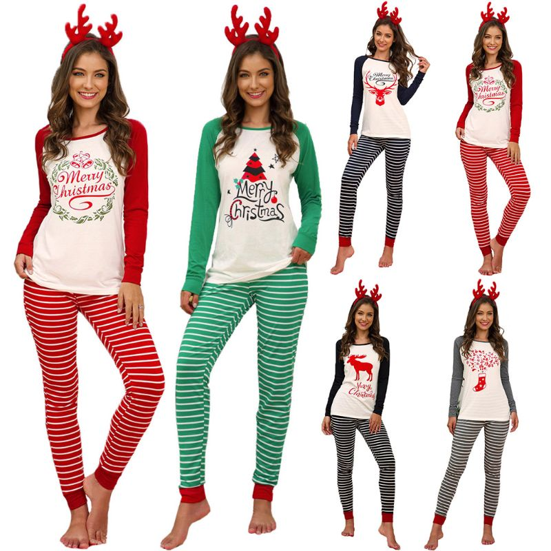 Women Xmas Letter Print Raglan Sleeve Christmas Party Striped Nightwear Pyjamas