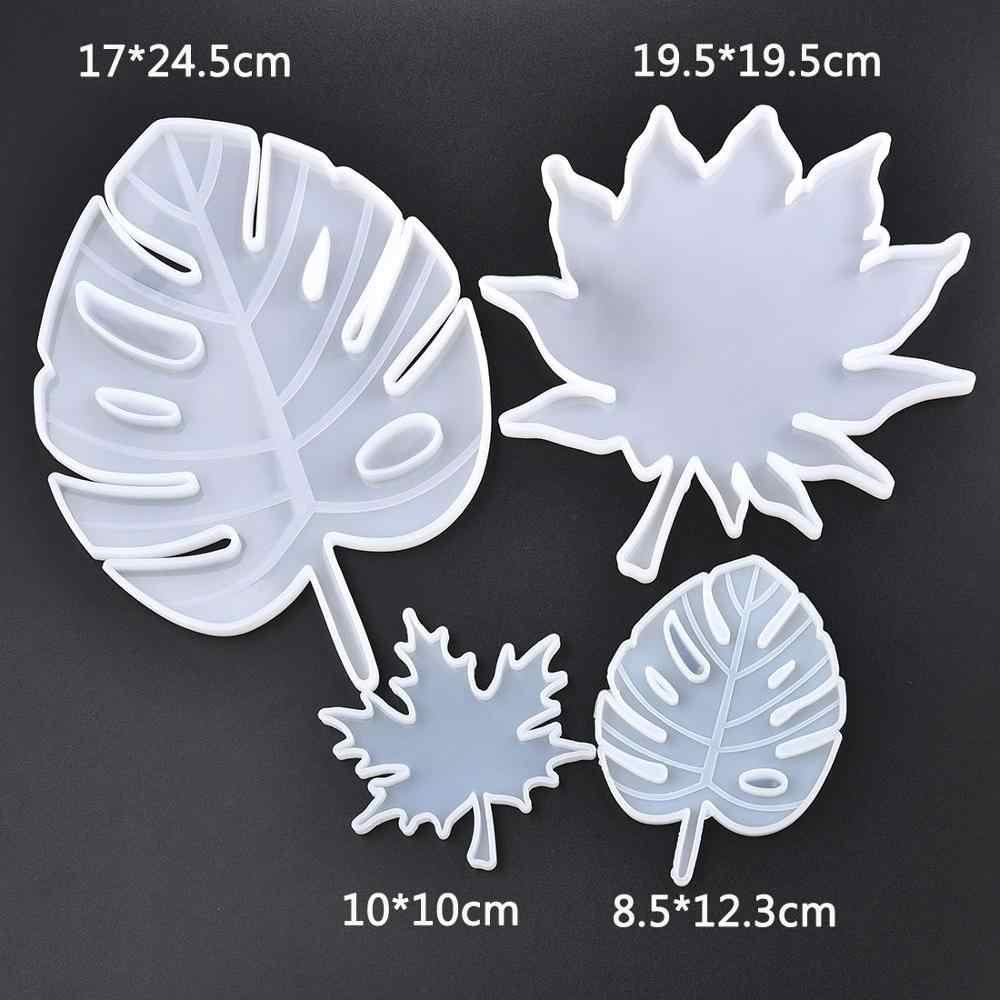 Liść klonu formy silikonowe Palm epoksydowe formy żywiczne odlewania Coaster DIY podstawki formy narzędzia do tworzenia biżuterii