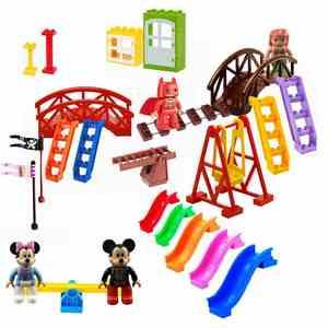 For Locking Duplo Cartoon TV Mickey Minnie Mouse Batman Mermaid Friends Building Blocks Figures Children Toys Lockings Duplo Kit(China)