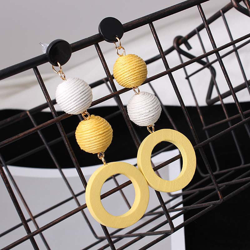 Korean Flax Hemp Rope Round Ball Wood Women's Earrings 2020 New Style Long Yellow Blue White Candy Color Fashion Jewelry