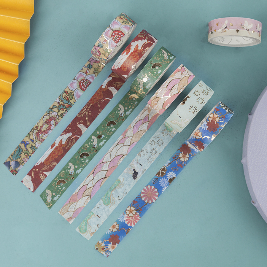 10pcs Vintage Chinese Paper Washi Tape Set Luxury Palace Flower Crane Wave Adhesive Masking Tapes Stickers Decoration DIY A6180