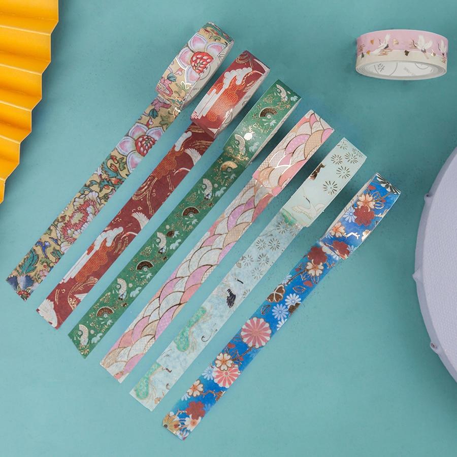 10pcs Vintage Chinese Paper Washi Tape Set Luxury Palace Flower Crane Wave Adhesive Masking Tapes Stickers Decoration DIY A6180
