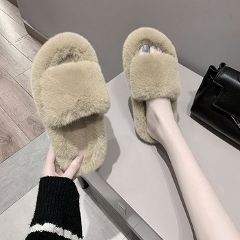 women Fur Shoes 2020 Ladies' Slippers Flock Slides Multicolored Plush Rubber Flat Designer Basic with fur Rome Sweet Short image