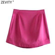Zevity mulheres de rua alta cor sólida lado zíper sexy mini saia faldas mujer ladies luz suave casual magro chique vestidos qun765