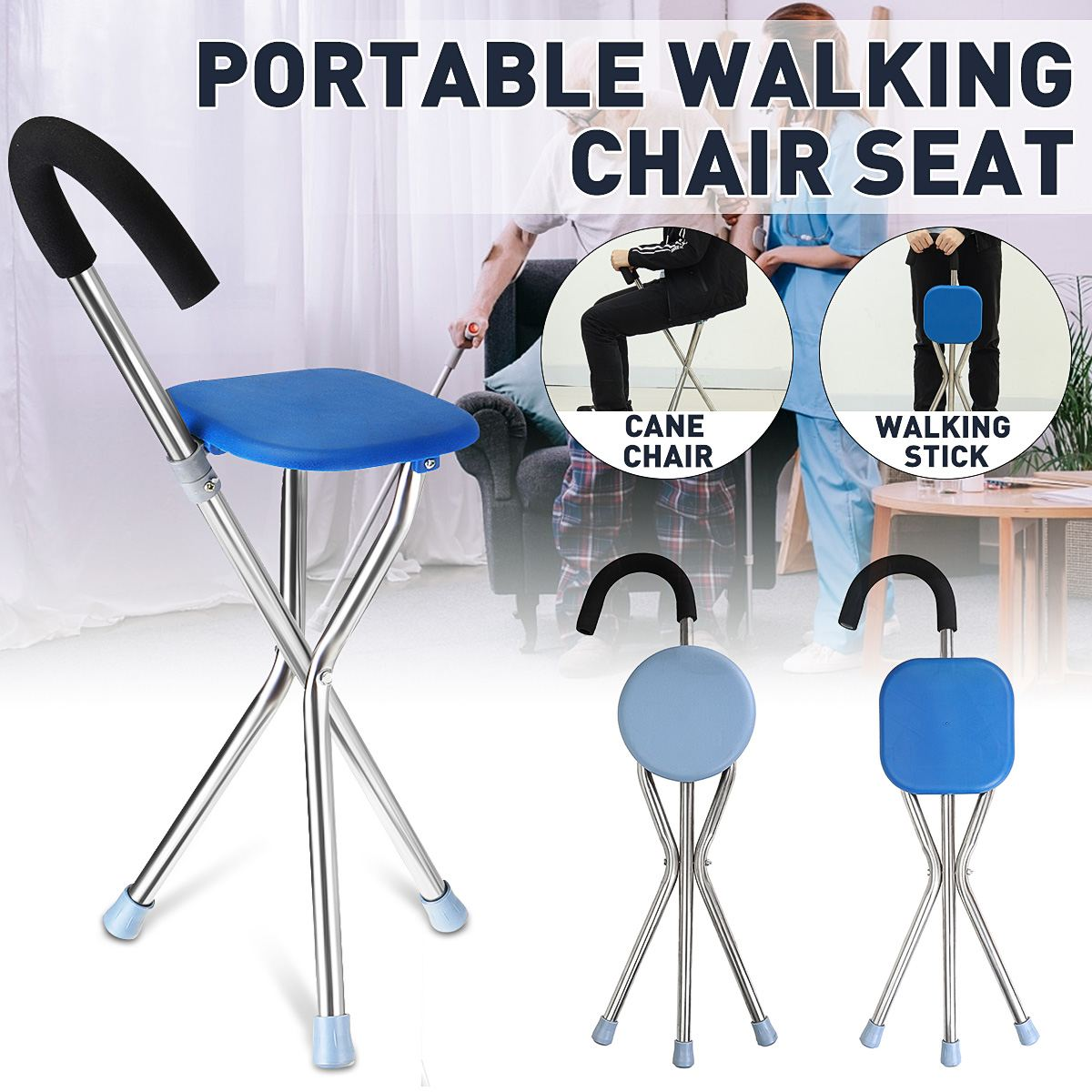 Folding Walking Cane Rest Stainless Steel Walking Stick Chair Seat Non Slip Tripod Cane For Elder Outdoor Hiking Climbing Crutch