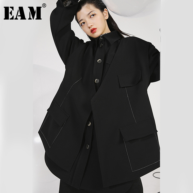 [EAM] Loose Fit Black Split Button Two Piece Jacket New Lapel Long Sleeve Women Coat Fashion Tide Spring Autumn 2020 1H502