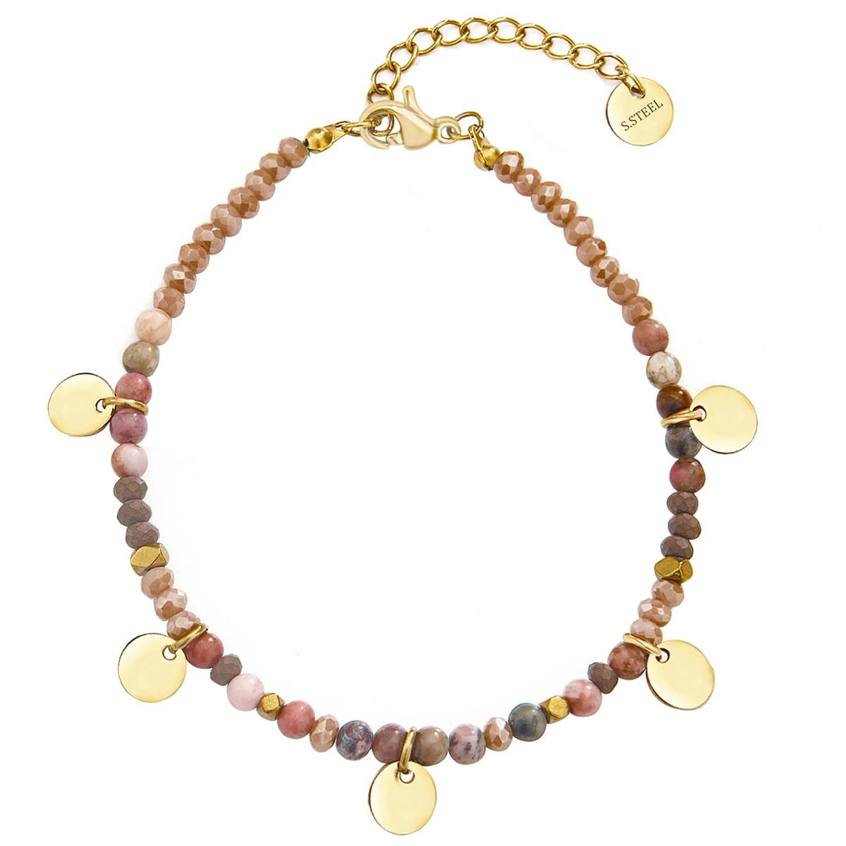 Wild & Free, модное кольцо из нержавеющей стали, браслет из бисера пять Цвета Круглый браслет для женщин из натурального камня, богемные ювелирны...