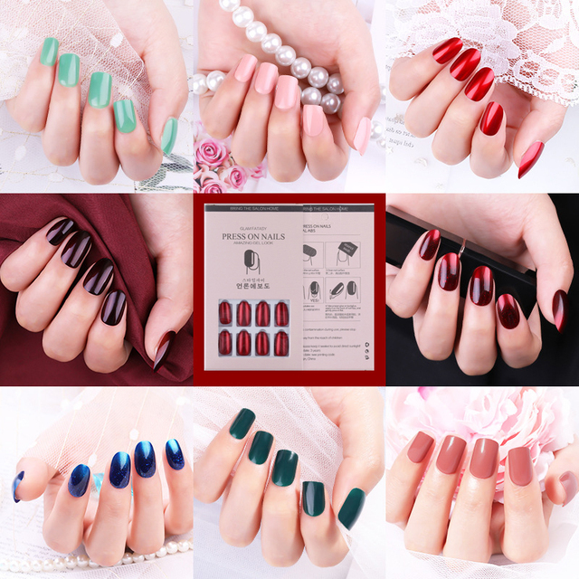 24pcs Reusable Stick On Nails Reusable Full Cover Detachable False Nail Artificial Tips Press On Nails Art Fake Extension Tips 1