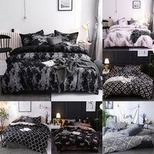 Bedding-Set Pillowcase Quilt-Cover Double-Comforter Three-Piece Black Single with Simple